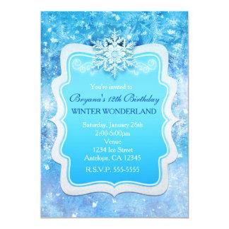 Frozen Ice Winter Wonderland Snowflake Invitations