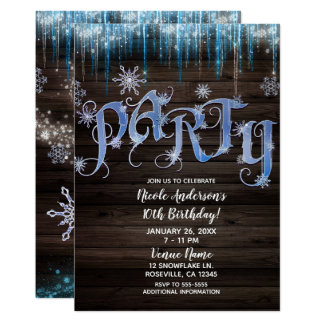 Frozen Icicles Winter Wonderland Birthday PARTY Card