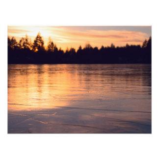 Frozen Lake at Sunset Photo Print
