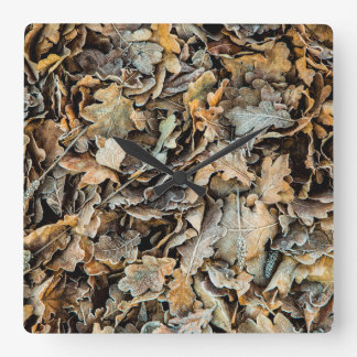 Frozen leaves square wall clock