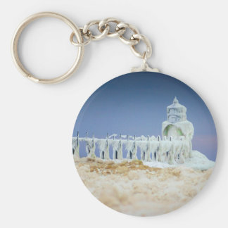 Frozen Lighthouse Basic Round Button Keychain