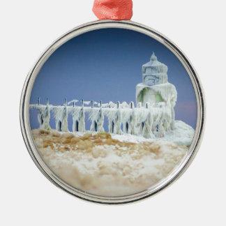Frozen Lighthouse Metal Ornament
