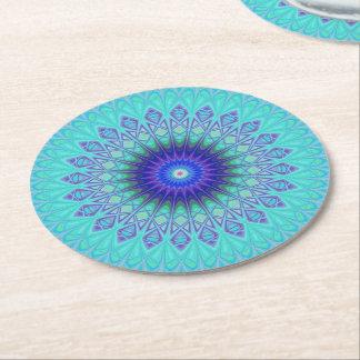 Frozen mandala round paper coaster