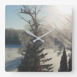 Frozen Morning Trees Square Wall Clock