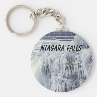 Frozen Niagara Falls Button Keychain