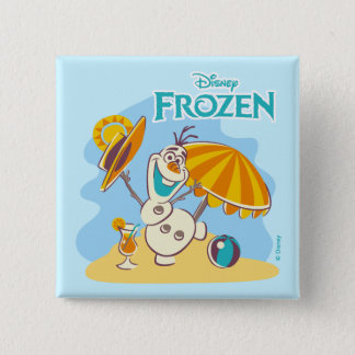 Frozen | Olaf Playing on the Beach 2 Inch Square Button