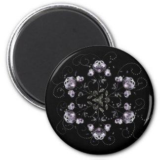 Frozen Peony Pattern 2 Inch Round Magnet