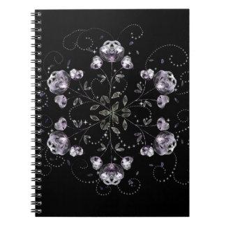 Frozen Peony Pattern Spiral Notebook