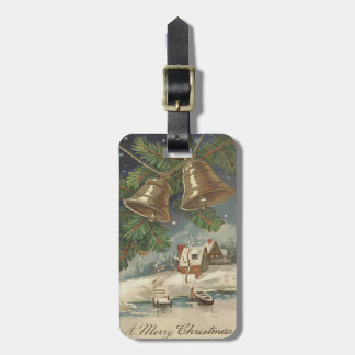 Frozen Pond Bell Evergreen Snow Luggage Tag