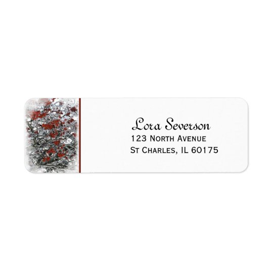 Frozen Red Winter Berries Return Address Return Address Label