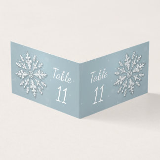 Frozen snowflake winter Wedding Table number Card