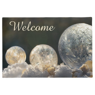 Frozen Soap Bubbles Ice Cool Winter Photo  Welcome Doormat