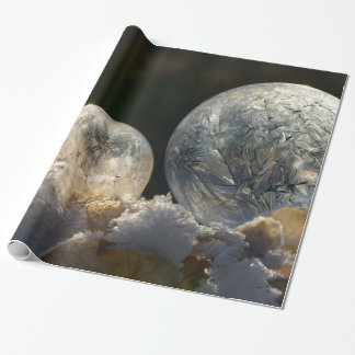 Frozen Soap Bubbles Ice Crystal Cool Winter Photo Wrapping Paper