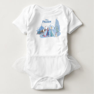 Frozen | Sven, Anna, Elsa & Olaf Blue Pastels Baby Bodysuit