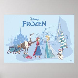 Frozen | Sven, Anna, Elsa & Olaf Blue Pastels Poster