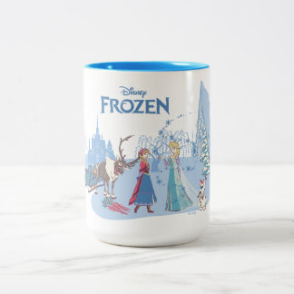 Frozen | Sven, Anna, Elsa & Olaf Blue Pastels Two-Tone Coffee Mug
