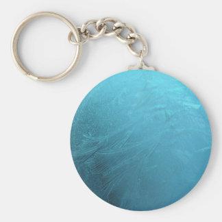 Frozen Water Ice Blue Frost Chic Winter Metallic Basic Round Button Keychain