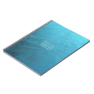 Frozen Water Ice Blue Frost Monogram MB Metallic Notebook