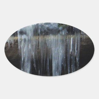 Frozen Water on Rocks Oval Sticker