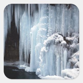 Frozen Waterfall sticker. Square Sticker