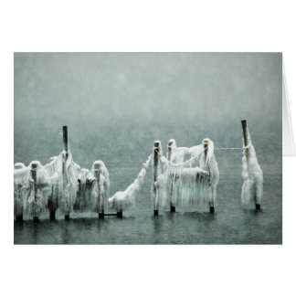 Frozen Winter Boat Docks Card