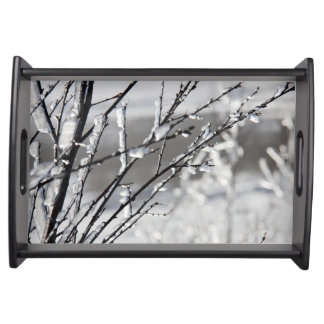 Frozen winter branches serving tray