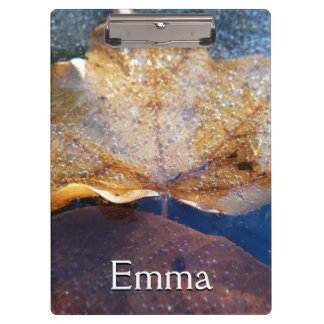 Frozen Yellow Maple Leaf Autumn Nature Clipboard
