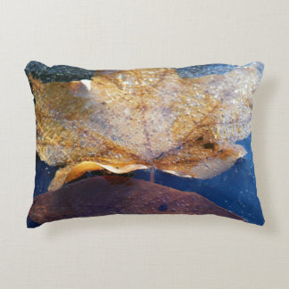 Frozen Yellow Maple Leaf Autumn Nature Decorative Pillow