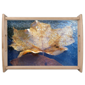 Frozen Yellow Maple Leaf Autumn Nature Serving Tray