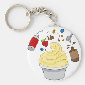 Frozen Yogurt with Toppings Basic Round Button Keychain