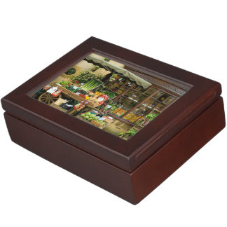 Fruit and Veg Colorful English Village Store Keepsake Box