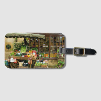 Fruit and Veg Colorful English Village Store Luggage Tag