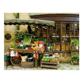 Fruit and Veg Colorful English Village Store Postcard