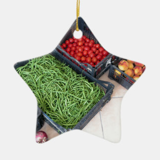 Fruit and vegetable boxes ceramic ornament