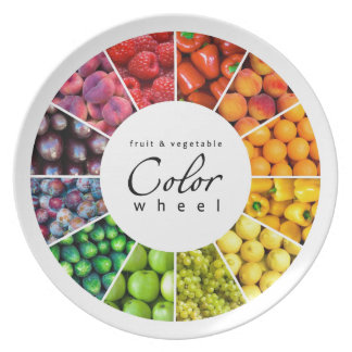 Fruit and vegetable colour wheel (12 colours) dinner plates