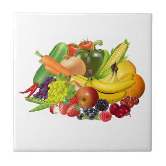 Fruit and vegetables pretty kitchen tile or trivet