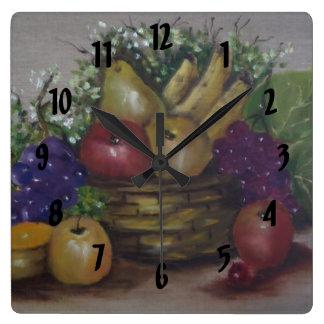 fruit basket square wall clock