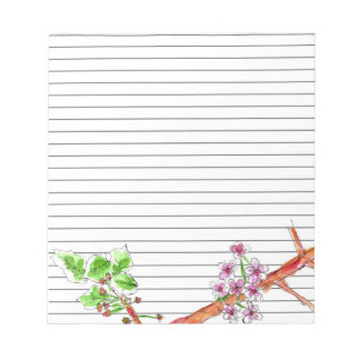 Fruit Blossom Lined Notepad Tree Branch Botanical