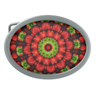FRUIT BOHEMIAN KALEIDOSCOPIC GEOMETRIC MANDALA OVAL BELT BUCKLES