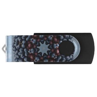 FRUIT BOHEMIAN KALEIDOSCOPIC GEOMETRIC MANDALA SWIVEL USB 2.0 FLASH DRIVE