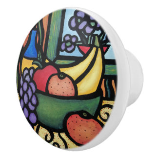 Fruit Bowl Bright Colors Ceramic Knob