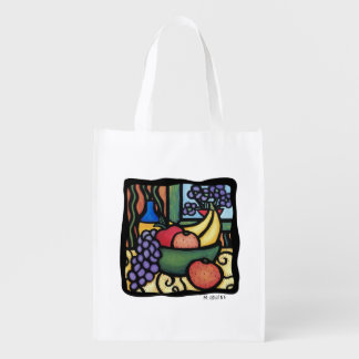 Fruit Bowl Bright Colors Reusable Grocery Bag