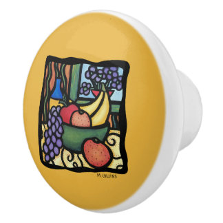 Fruit Bowl On Yellow Ceramic Knob