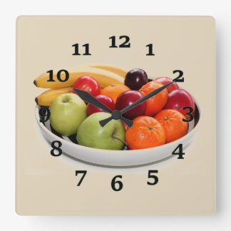Fruit Bowl Square Wall Clock