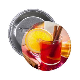 Fruit citrus tea with cinnamon and orange 2 inch round button