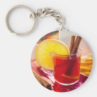 Fruit citrus tea with cinnamon and orange basic round button keychain