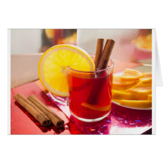 Fruit citrus tea with cinnamon and orange card