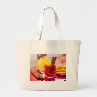 Fruit citrus tea with cinnamon and orange large tote bag