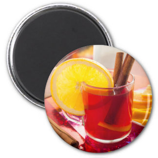 Fruit citrus tea with cinnamon and orange magnet
