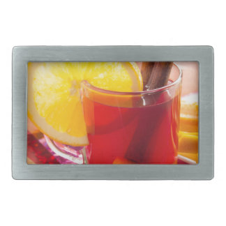 Fruit citrus tea with cinnamon and orange rectangular belt buckle